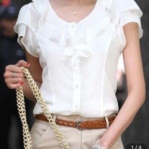 Tops - Ivory colored short-sleeve button-up ruffle blouse